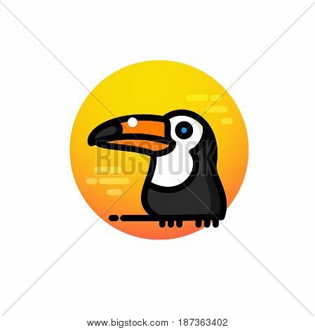Label with tropical toucan bird vector illustration