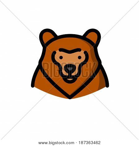 Brown grizzly bear vector illustration, outline style icon