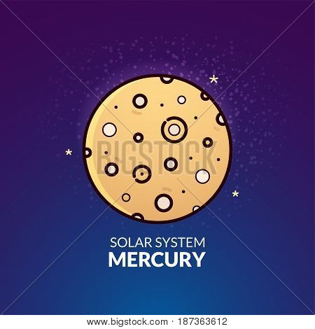 Terrestrial planet Mercury, Solar System object, vector illustration in outline style
