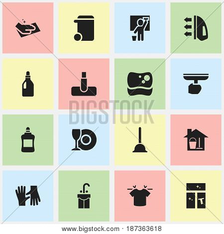 Set Of 16 Editable Cleaning Icons. Includes Symbols Such As Laundry Detergent, Gauntlet, Cleaner And More. Can Be Used For Web, Mobile, UI And Infographic Design.