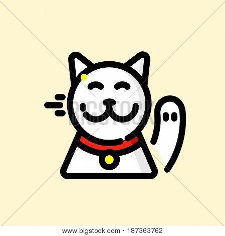 Maneki-neko vector illustration, Japanese cat beckoning paw