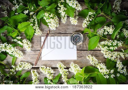 White sheet of paper compass pencil surrounded by the foliage of wild cherry on a background of old boards