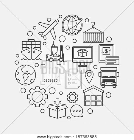 Worldwide logistics thin line illustration. Vector simple shipping and delivery sign made with outline logistic icons