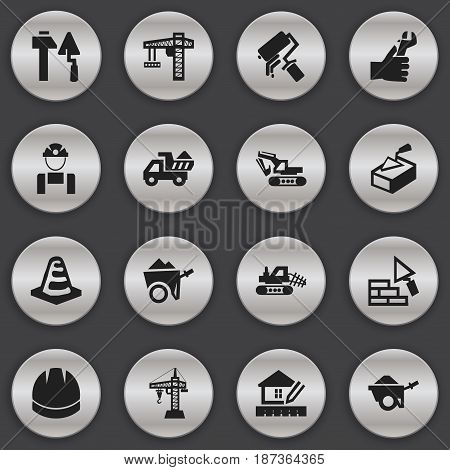 Set Of 16 Editable Building Icons. Includes Symbols Such As Notice Object, Scrub, Lifting Equipment And More. Can Be Used For Web, Mobile, UI And Infographic Design.