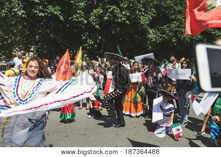 People Marching In Support Of Immigrants In Milan, Italy