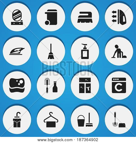 Set Of 16 Editable Hygiene Icons. Includes Symbols Such As Washing Glass, Sweep, Dustbin And More. Can Be Used For Web, Mobile, UI And Infographic Design.