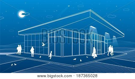 The building of the store, people are walking, the night city scene, vector design art