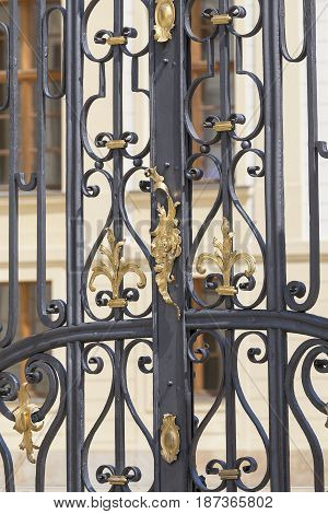 Prague Castle Hradcany decorative metal fence Prague Czech Republic