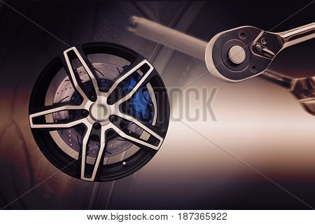 Double exposure. Repairing wheel concept. Wheel of racing car with modify. Clipping path.