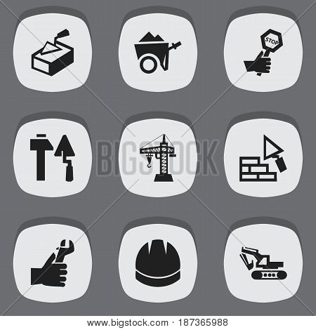 Set Of 9 Editable Structure Icons. Includes Symbols Such As Facing, Hands , Endurance. Can Be Used For Web, Mobile, UI And Infographic Design.
