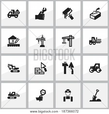 Set Of 16 Editable Structure Icons. Includes Symbols Such As Caterpillar, Endurance, Camion And More. Can Be Used For Web, Mobile, UI And Infographic Design.