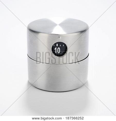 Metallic Kitchen Timer Isolated