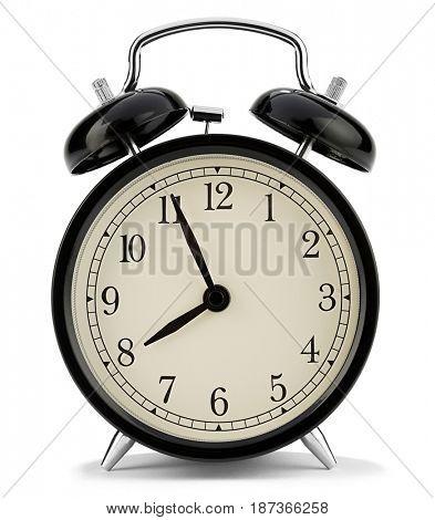 Retro styled alarm clock isolated on white background.