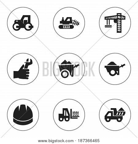 Set Of 9 Editable Structure Icons. Includes Symbols Such As Truck , Handcart ,  Lifting Equipment. Can Be Used For Web, Mobile, UI And Infographic Design.