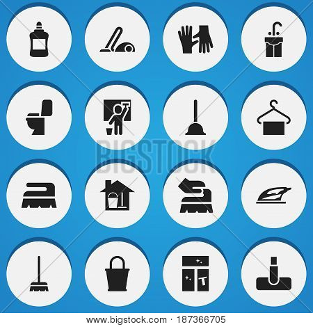 Set Of 16 Editable Cleanup Icons. Includes Symbols Such As Sweep, Sink, Pail And More. Can Be Used For Web, Mobile, UI And Infographic Design.