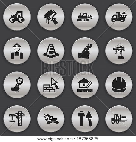 Set Of 16 Editable Construction Icons. Includes Symbols Such As Facing, Lifting Equipment, Truck And More. Can Be Used For Web, Mobile, UI And Infographic Design.