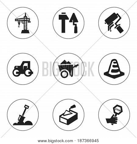 Set Of 9 Editable Structure Icons. Includes Symbols Such As Oar, Caterpillar, Elevator And More. Can Be Used For Web, Mobile, UI And Infographic Design.