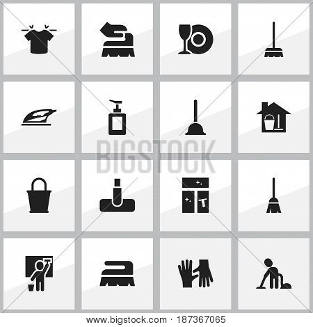 Set Of 16 Editable Cleaning Icons. Includes Symbols Such As Washing Glass, Pail, Rubber Drain And More. Can Be Used For Web, Mobile, UI And Infographic Design.
