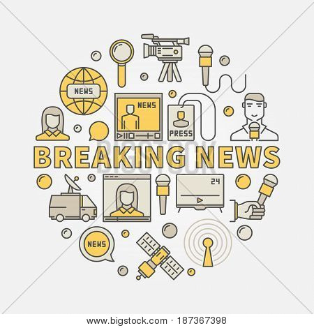 Breaking news colorful illustration - vector sign made with microphone, journalist, satellite and other media icons