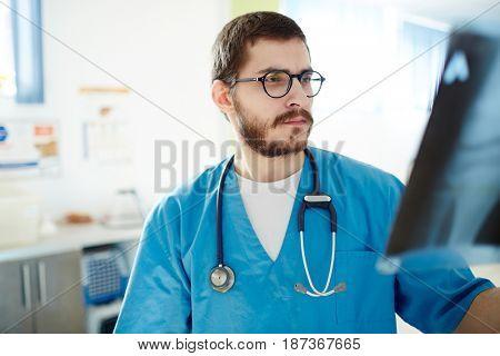 Radiologist looking at x-ray image