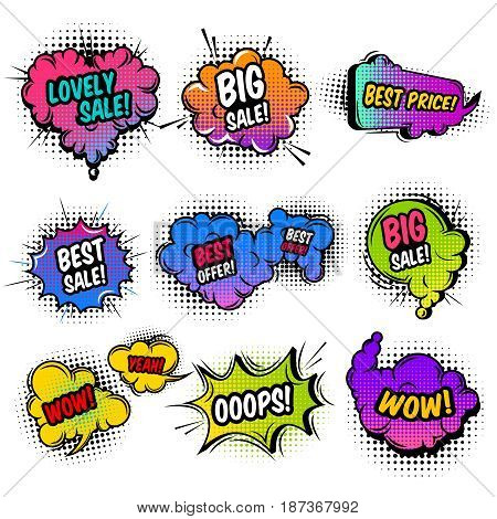 Sale comic style set including various clouds with dot pattern and sound effects isolated vector illustration