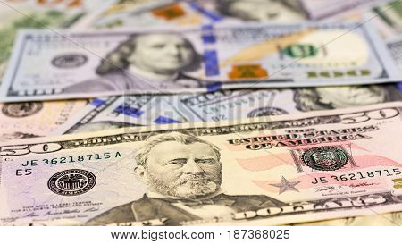 Close-up of American dollars money background. Finance