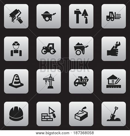 Set Of 16 Editable Construction Icons. Includes Symbols Such As Spatula, Truck, Hardhat And More. Can Be Used For Web, Mobile, UI And Infographic Design.