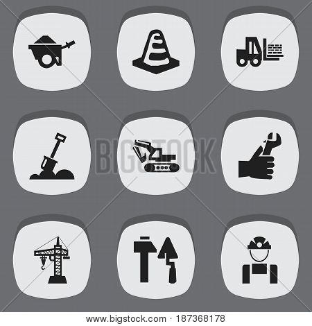 Set Of 9 Editable Building Icons. Includes Symbols Such As Hands , Elevator, Excavation Machine. Can Be Used For Web, Mobile, UI And Infographic Design.