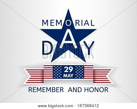 Memorial Day background with the emblem in the form of a blue star and with a creative inscription memorial day and ribbon similar to the USA flag