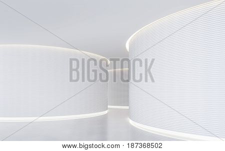Empty white room modern space interior 3d rendering image.A blank wall with pure white. Decorated wall with horizon line pattern and hidden light
