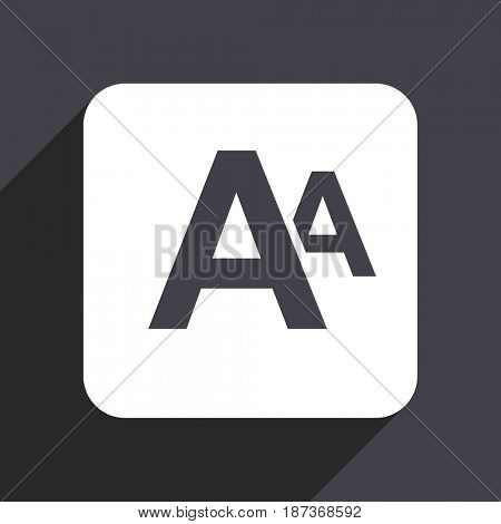 Alphabet flat design web icon isolated on gray background