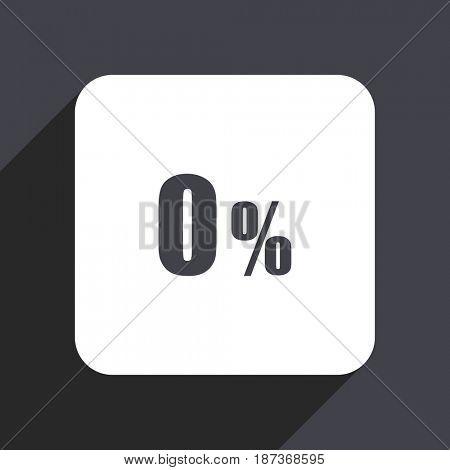 0 percent flat design web icon isolated on gray background