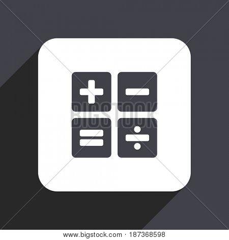 Calculator flat design web icon isolated on gray background
