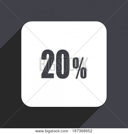 20 percent flat design web icon isolated on gray background