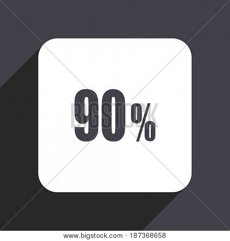 90 percent flat design web icon isolated on gray background