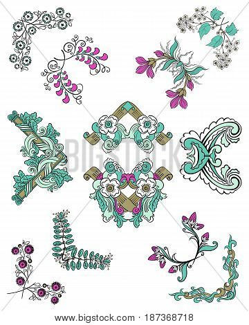 Colorful sketch ornamental floral corners set with blooming decorative flowers leaves and branches isolated vector illustration