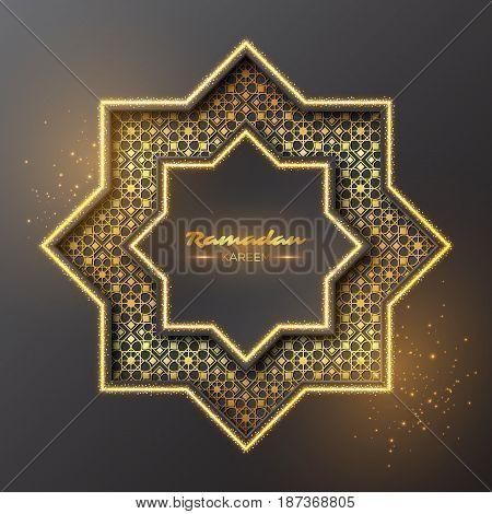 Ramadan Kareem glitter octagon. Holiday design with glowing lights and golden pattern. Vector illustration.