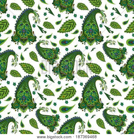 Decorative indian seamless pattern with green paisley leaves traceries and flowers on white background vector illustration