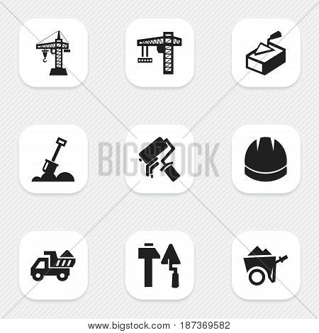 Set Of 9 Editable Building Icons. Includes Symbols Such As Elevator, Hardhat , Handcart. Can Be Used For Web, Mobile, UI And Infographic Design.