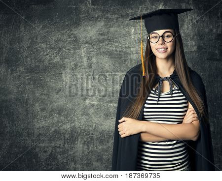 Student in Graduation Hat Woman in Glasses Mortarboard over Blackboard People University Education