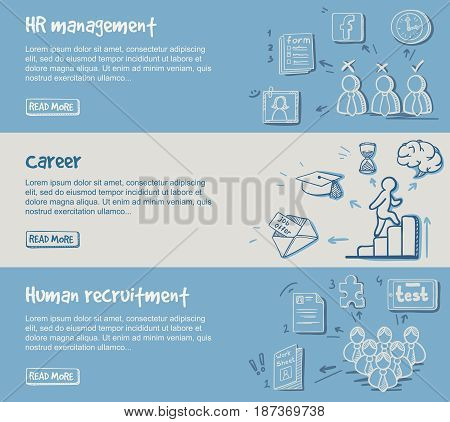 Hand drawn career development horizontal banners with human resources search planning and management elements vector illustration