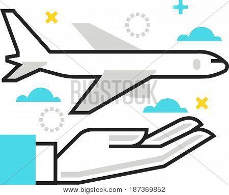 Color Box Icon, Plane Protection Illustration, Icon