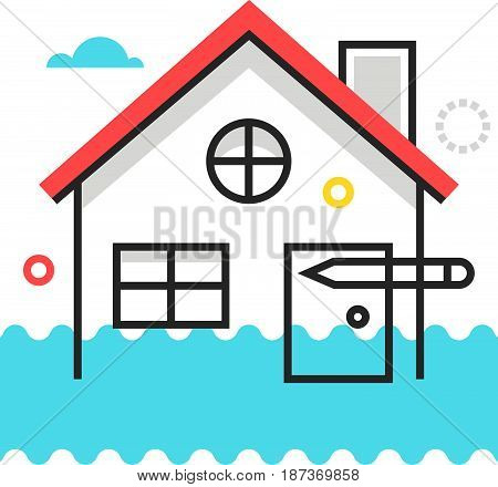 Color Box Icon, House Flood Protection Illustration, Icon