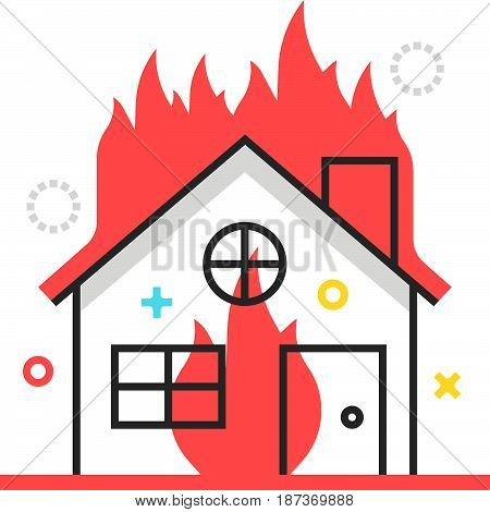 Color Box Icon, House Fire Protection Illustration, Icon