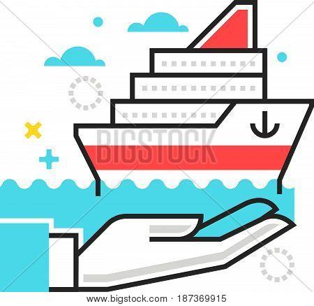 Color Box Icon, Ship Protection Illustration, Icon