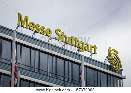 STUTTGART GERMANY - MARCH 04 2017: Messe Stuttgart - exhibition and trade fair center. The ninth biggest trade fair in Germany.