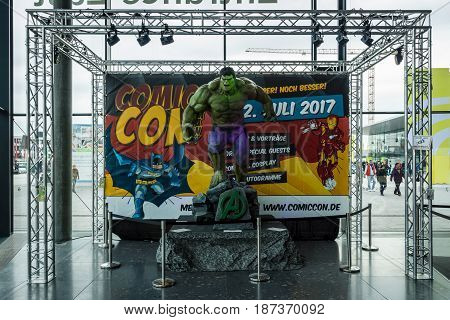 STUTTGART GERMANY - MARCH 04 2017: Announcement of the upcoming event Comic Con Germany at the Messe Stuttgart exhibition center.