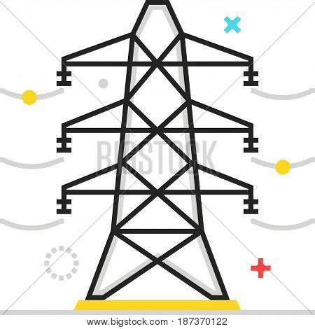 Color Box Icon, Electric Line Illustration, Icon