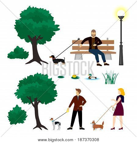Colorful city park elements collection with people walking dogs bench lantern trees bushes duck grass isolated vector illustration