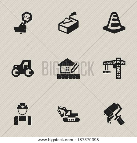 Set Of 9 Editable Structure Icons. Includes Symbols Such As Lifting Equipment, Excavation Machine, Notice Object And More. Can Be Used For Web, Mobile, UI And Infographic Design.